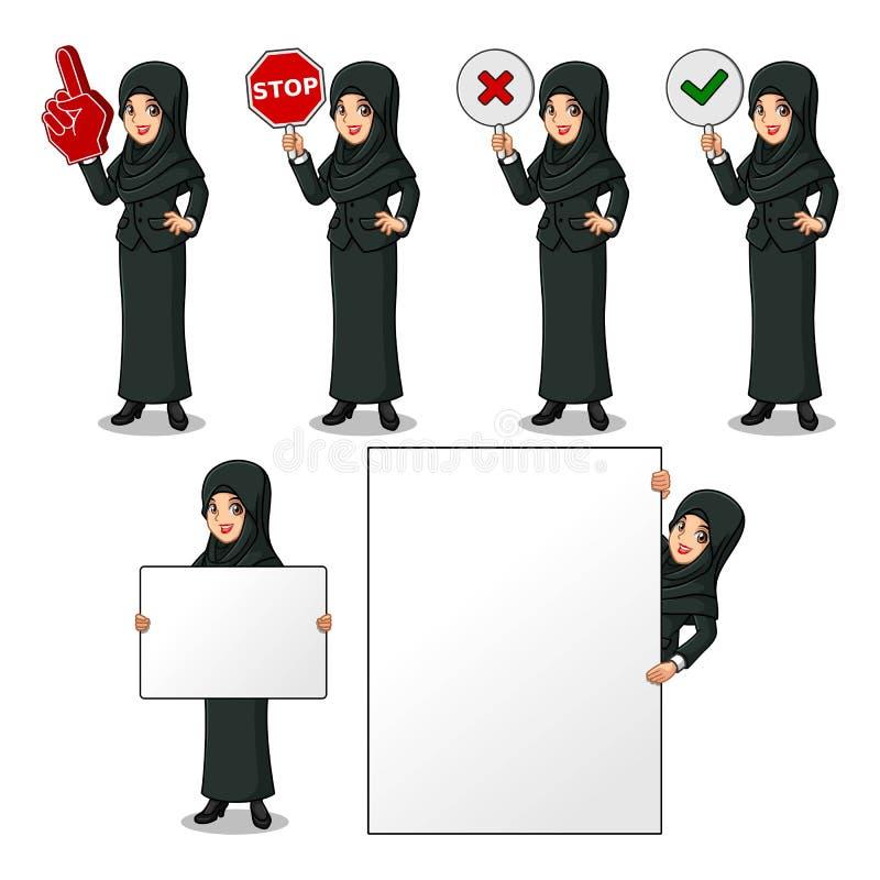 Satz der Geschäftsfrau im schwarzen Anzug mit dem Schleier, der Zeichenbrett hält lizenzfreie abbildung