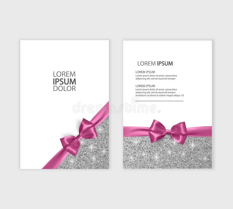 Satz der Geschenkgutschein-Karten-Schablone, der Werbung oder des Verkaufs Schablone mit Funkelnbeschaffenheit und realistischer  stock abbildung
