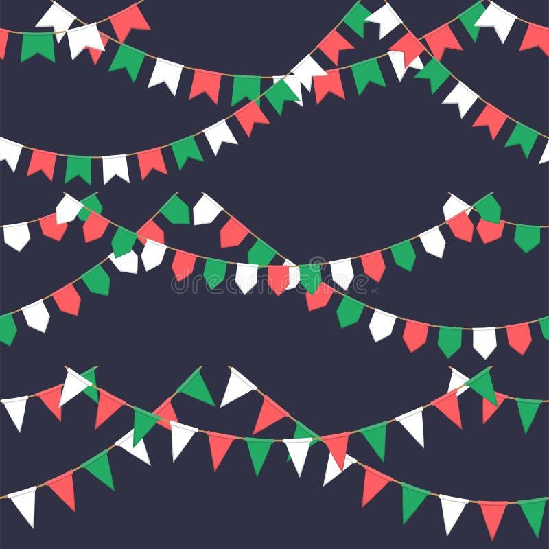 Satz der Girlande mit Feier kennzeichnet Kette, Grün, Weiß, rote Pennons auf dunklem Hintergrund, Seitenende und Fahne für vektor abbildung
