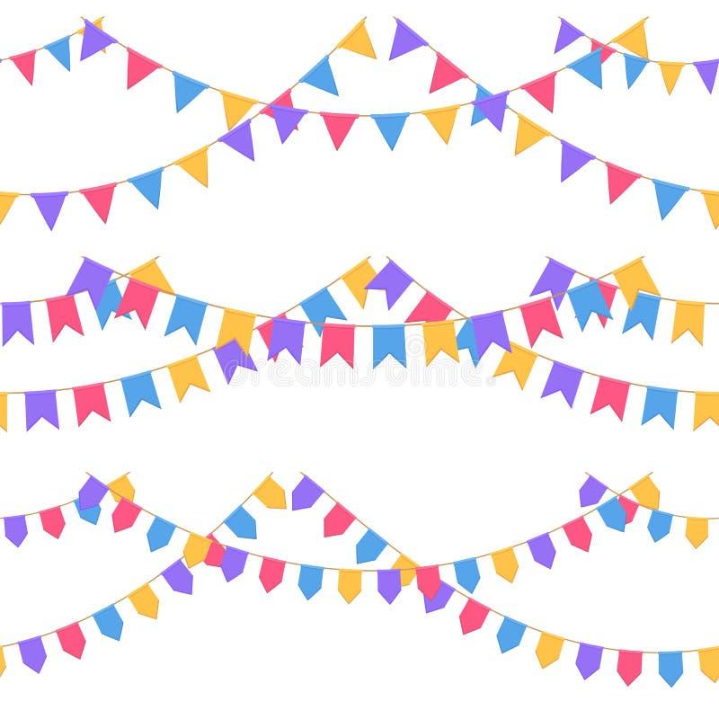 Satz der Girlande mit Feier kennzeichnet Kette, Purpur, Rosa, Blau, gelbe Pennons ohne Hintergrund, Seitenende und Fahne lizenzfreie abbildung