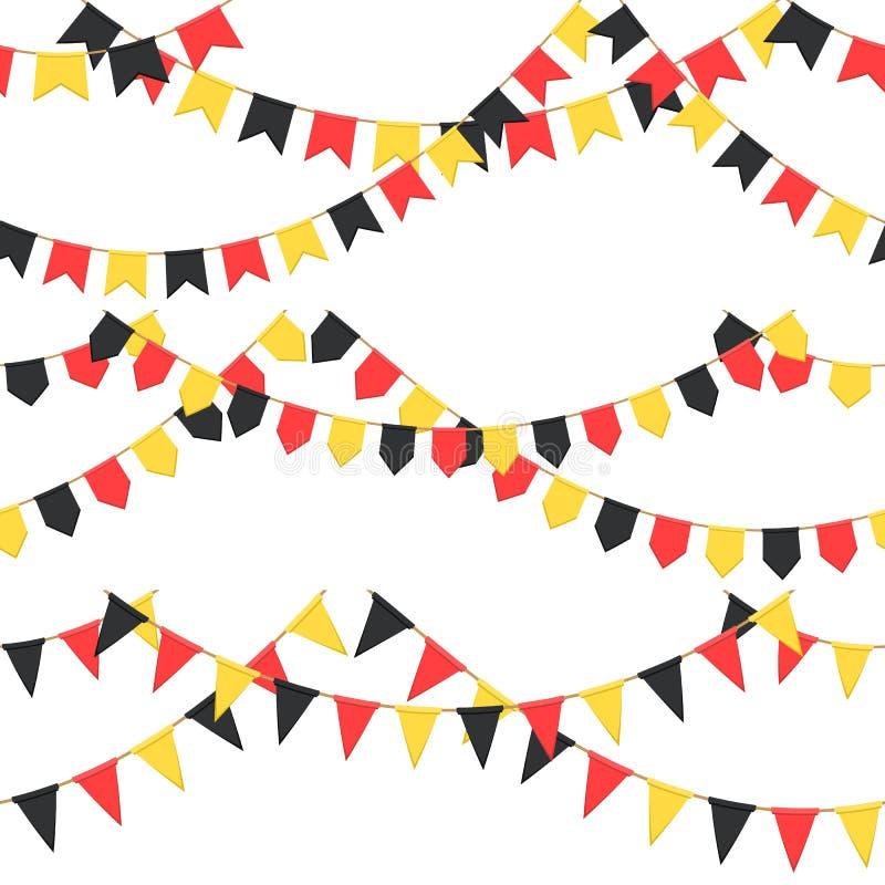 Satz der Girlande mit Feier kennzeichnet Kette, Schwarzes, Gelb, gelbe Pennons ohne Hintergrund, Seitenende und Fahne für lizenzfreie abbildung