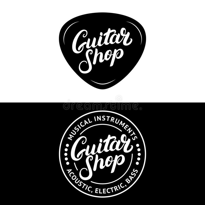 Satz der Gitarrenshophand geschrieben, Logos, Embleme, Ausweise beschriftend lizenzfreie abbildung