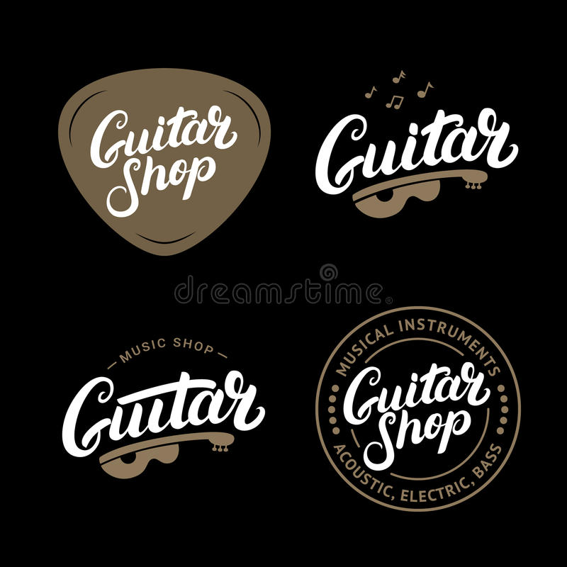 Satz der Gitarrenshophand geschrieben, Logos, Embleme, Ausweise beschriftend stock abbildung