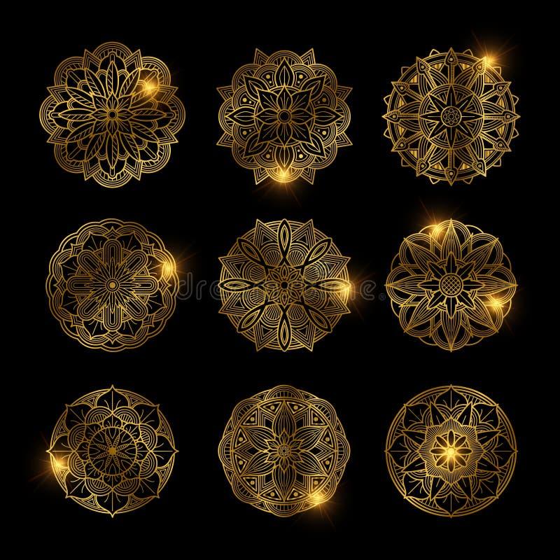 Satz der glänzenden goldenen Blumenmandala stock abbildung
