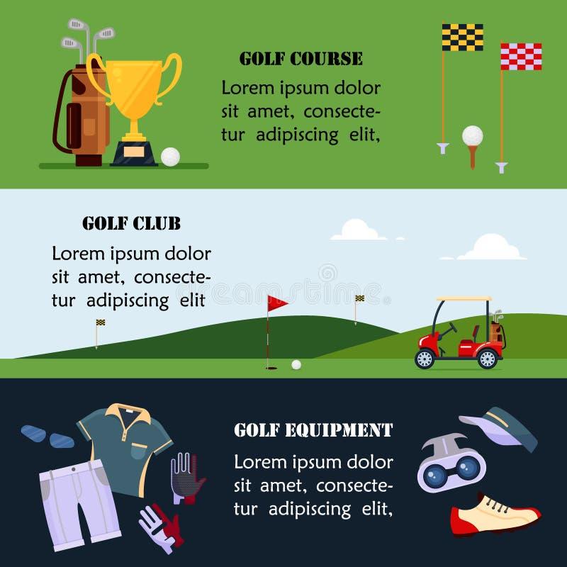 Satz der Golffahne, Kleidung und Zubehör für das Golf spielen, Websitetitel stellten für Golfturniere, Clubs, Meisterschaft ein stock abbildung
