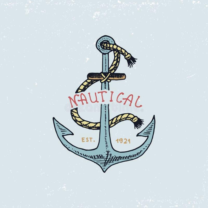 Satz der gravierten Weinlese, Hand gezeichnet, alt, Aufkleber oder Ausweise für Anker Marine- und See- oder des Meeres, Ozean Emb stock abbildung