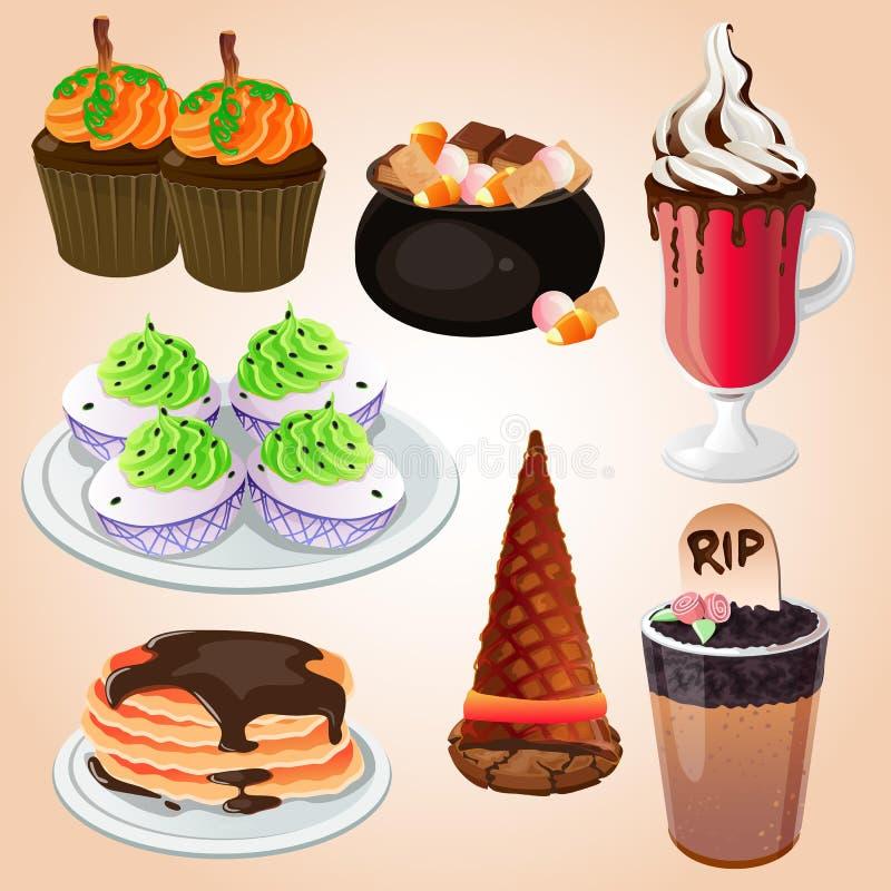Satz der Halloween-Lebensmittelvektorillustration vektor abbildung