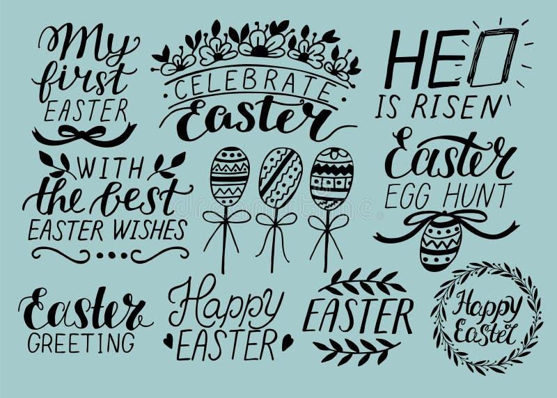 Satz der Hand 9, die über Ostern beschriftet Er wird gestiegen Ei-Jagd celebrate stock abbildung