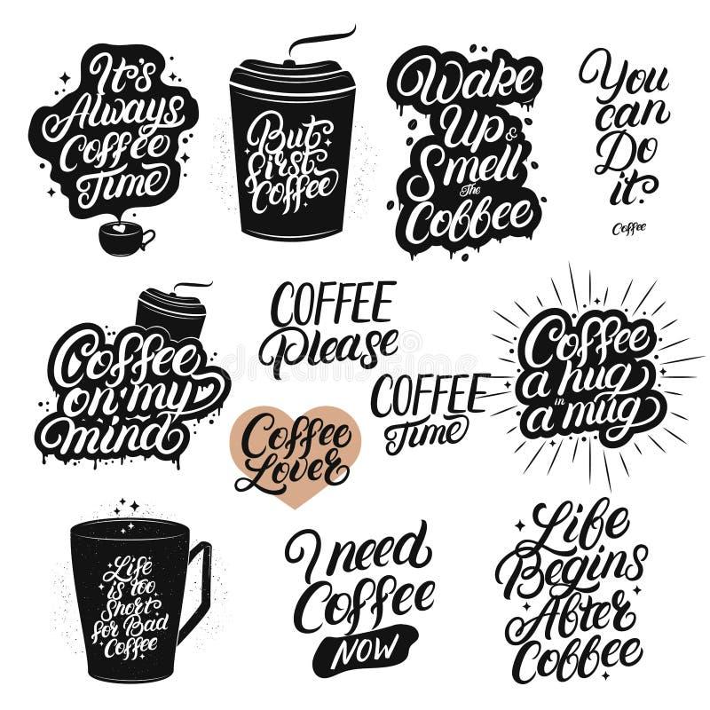 Satz der Hand gezeichnet, Kaffeezitate beschriftend vektor abbildung