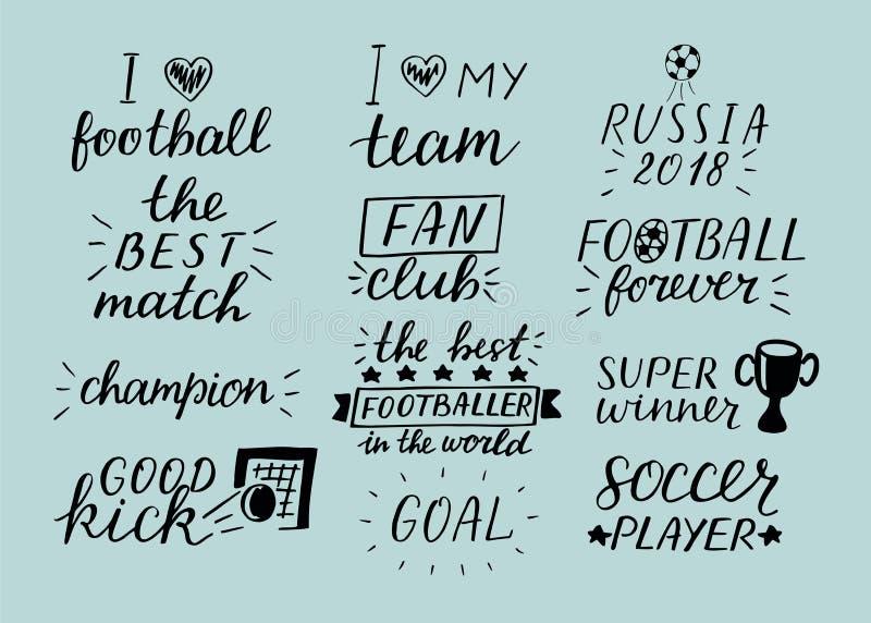 Satz der Handbeschriftungsaufschrift mit 12 Fußball über Sport vektor abbildung