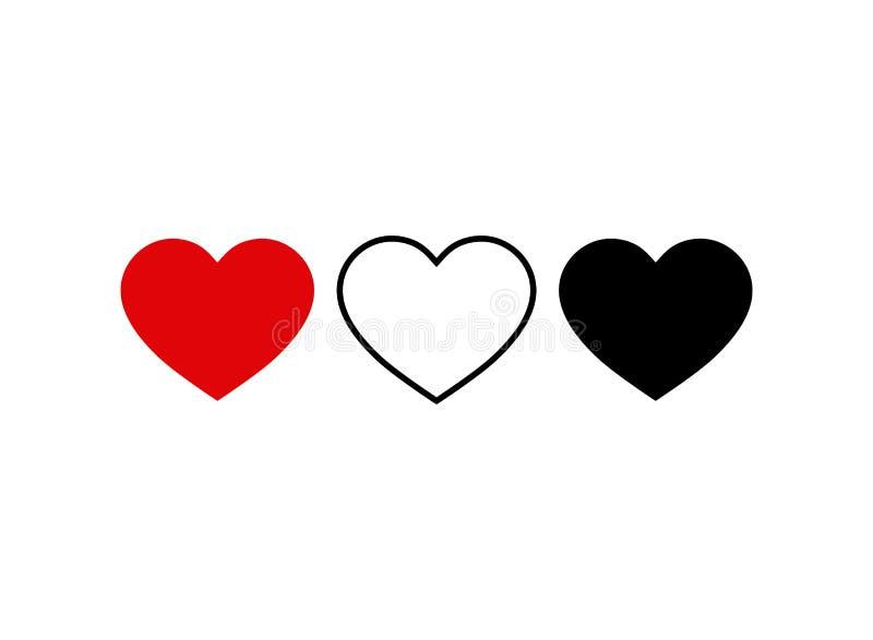 Satz der Herzikone Livestromvideo, Chat, Gleiche Social Media-Ikonen-Herzform Daumen herauf instagram Vektor eps10 lizenzfreie abbildung