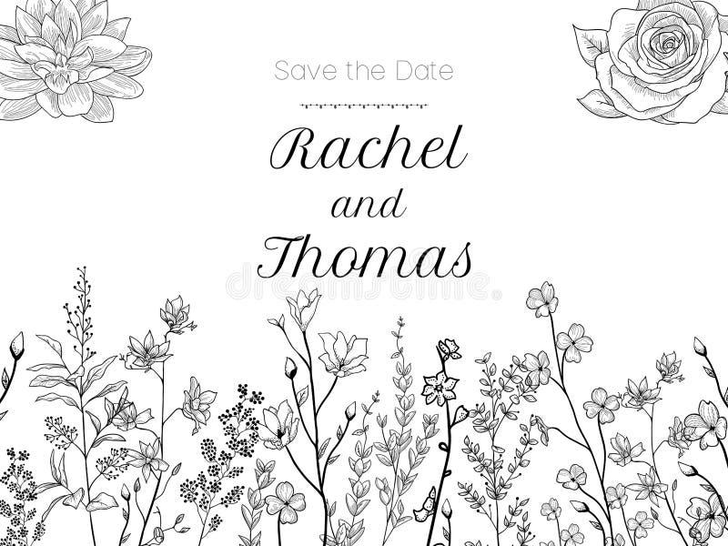 Satz der Hochzeitsfesteinladung und speichern die Datumskartenschablonen mit der Maiglöckchenblumenhand, die mit schwarzer Kontur vektor abbildung