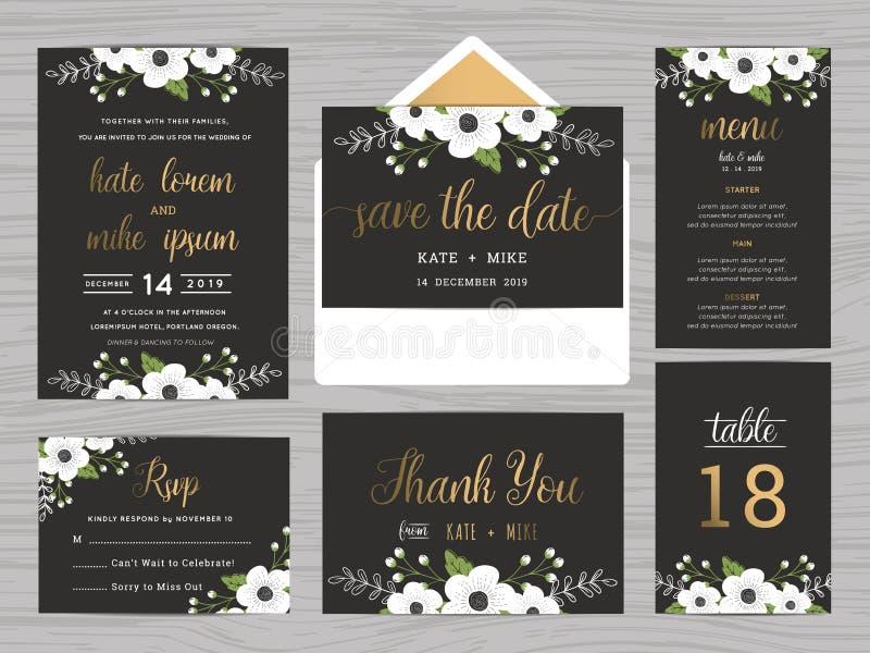 Satz der Hochzeitsreihenschablone verzieren mit weißen Blumen lizenzfreie abbildung