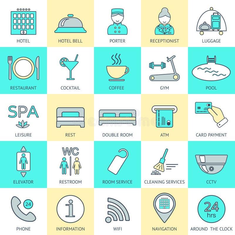 Satz der Hotelikonenlinie weibliches Haushaltungsarbeitskraftmädchen, das Bett mit Bettzeug am Gasthausraum macht Logo, Glyphs un lizenzfreie abbildung