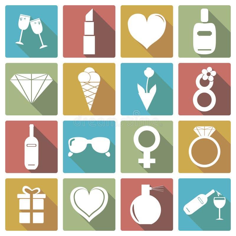 Satz der Ikone der internationalen Frauen Tages Auch im corel abgehobenen Betrag stock abbildung