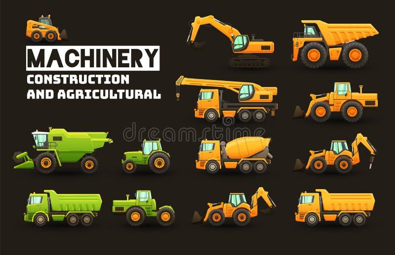 Satz der industriellen und landwirtschaftlichen Maschinerie vektor abbildung