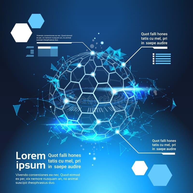 Satz der Infographic-Element-Weltkarte-Kugel-Technologie-Zusammenfassungs-Hintergrund-Schablonen-Fahne mit Kopien-Raum stock abbildung