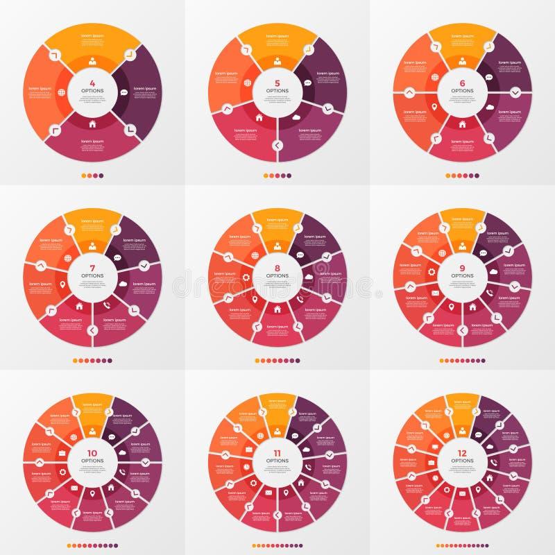 Satz der infographic Schablone des Kreisdiagramms mit 4-12 Wahlen lizenzfreie abbildung