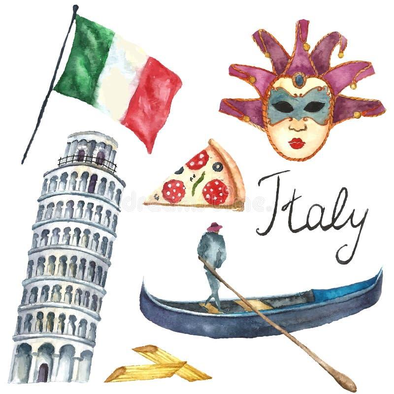 Satz der Italien-Ikonenaquarellillustration lizenzfreie abbildung