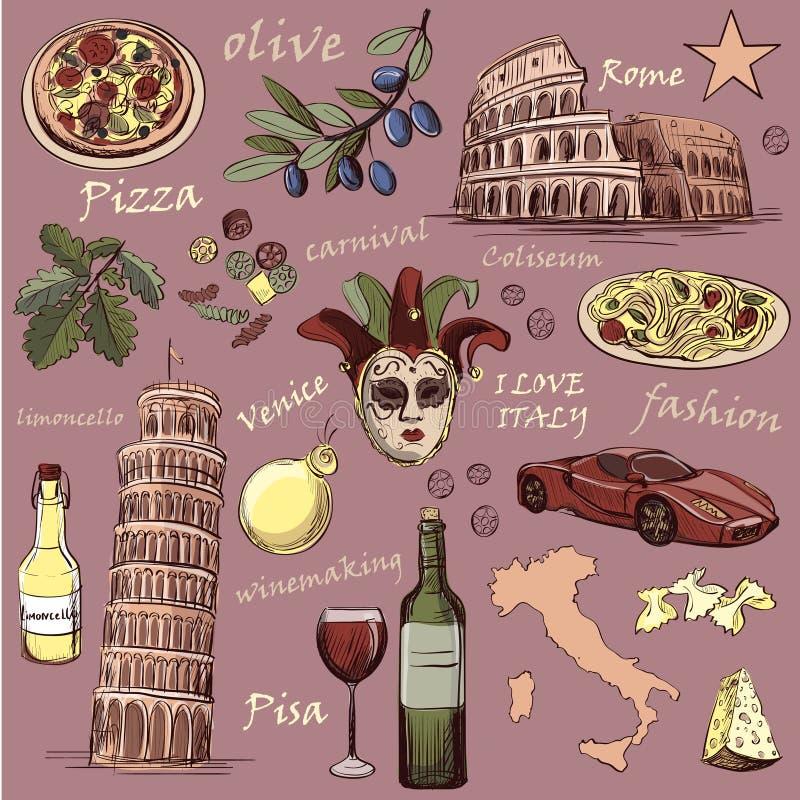 satz der italien ikonenhand gezeichnet vektor abbildung illustration von italienisch. Black Bedroom Furniture Sets. Home Design Ideas