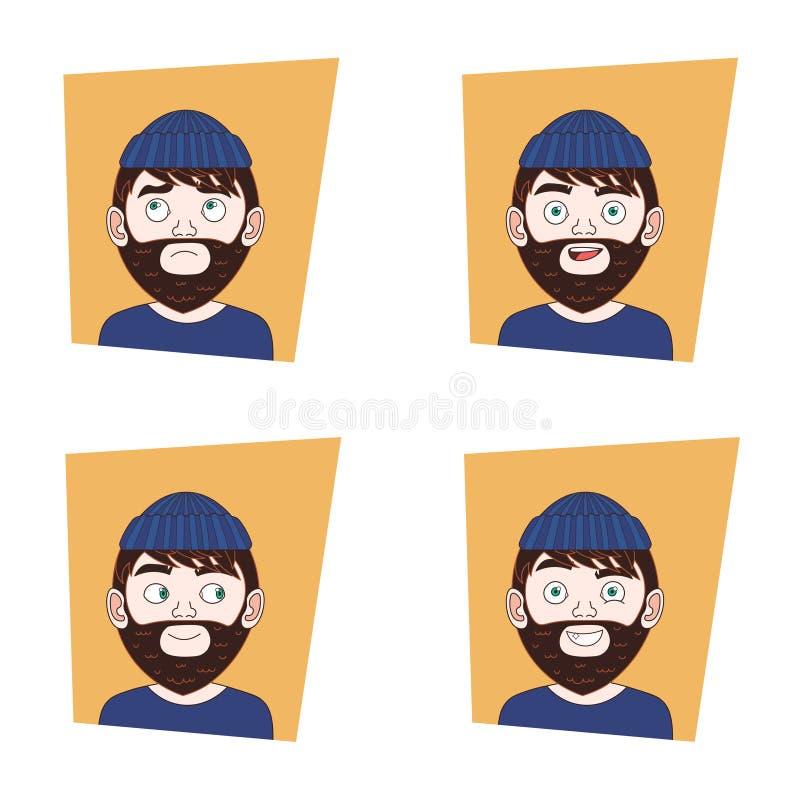 Satz der jungen bärtigen Mann-Gesichtsausdruck-Sammlung des Hippies Guy Different Emotions Icons stock abbildung