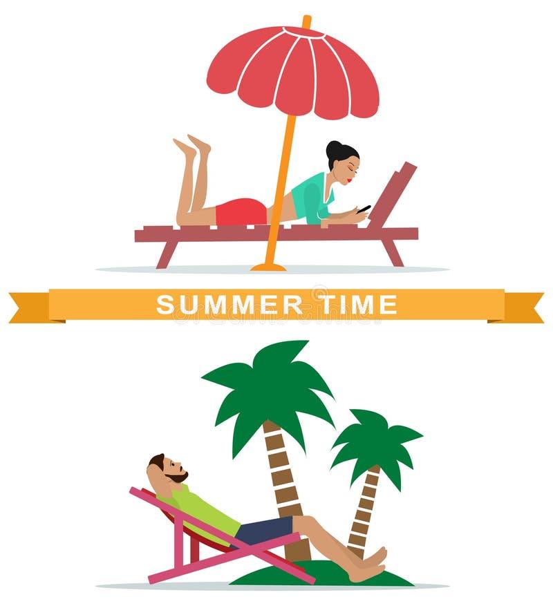Satz der jungen des auf sunbeds liegenden und entspannenden Frau und Mannes Leute, die auf dem Strand stillstehen lizenzfreie abbildung