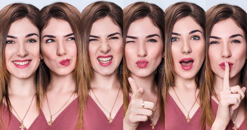 Satz der jungen Frau mit verschiedenen Ausdrücken lizenzfreie stockfotos