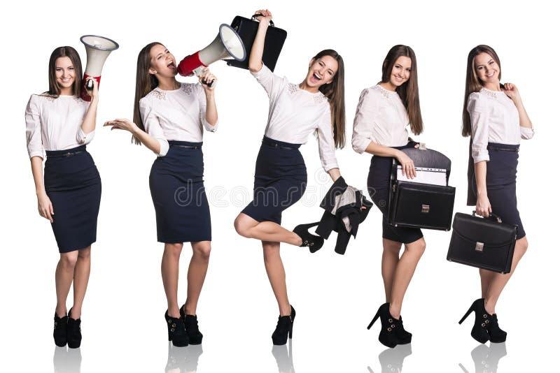 Satz der jungen Geschäftsfrau lizenzfreie stockfotografie