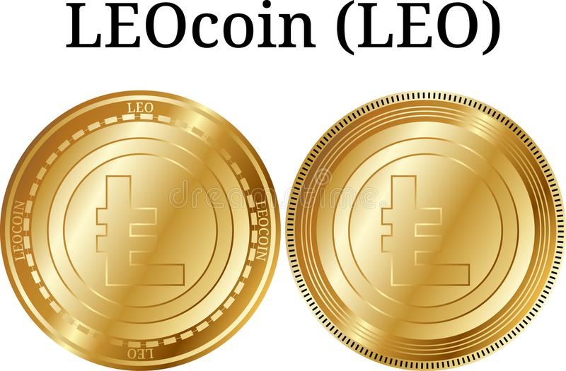 Satz der körperlichen goldenen Münze LEOcoin LÖWE lizenzfreie abbildung
