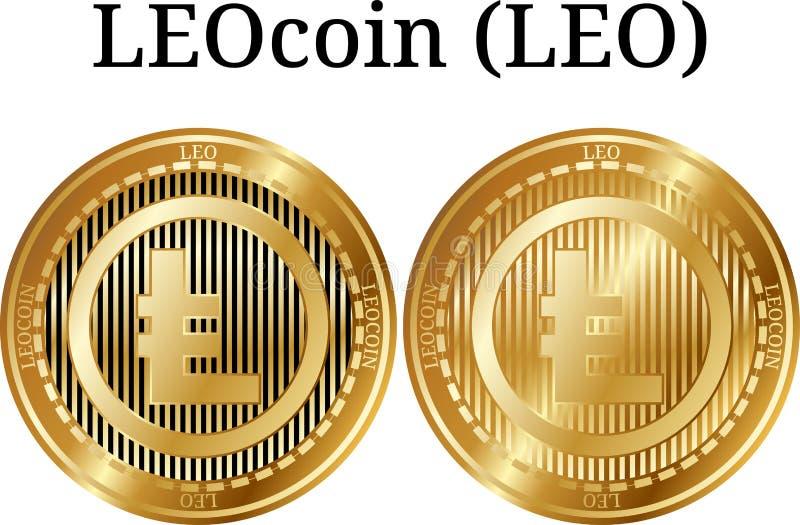 Satz der körperlichen goldenen Münze LEOcoin LÖWE stock abbildung