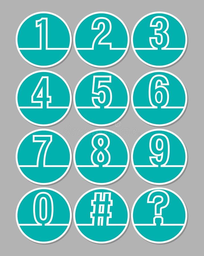 Satz der künstlerischen Zeilennummer im Kreis formt, weißer Entwurf auf modischem grünem Hintergrund vektor abbildung