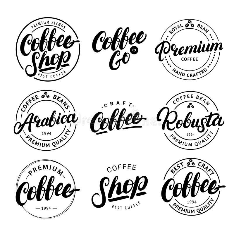 Satz der Kaffeehand geschrieben, Logo, Aufkleber, Ausweis, Emblem beschriftend vektor abbildung