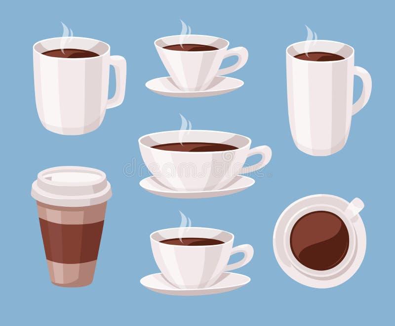 Satz der Karikaturart-Kaffeetasse Vektor-Illustrations-Flüssigkeits-Schokolade Hand gezeichnete Koffein-Getränke lizenzfreie abbildung