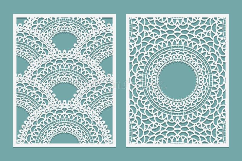 Satz der Laser-Schnittmusterschablone Holz- oder Papierschirm lazer Schnittplatte Wandvinylkunstdekor Abstrakter Plan für Ausschn lizenzfreie abbildung
