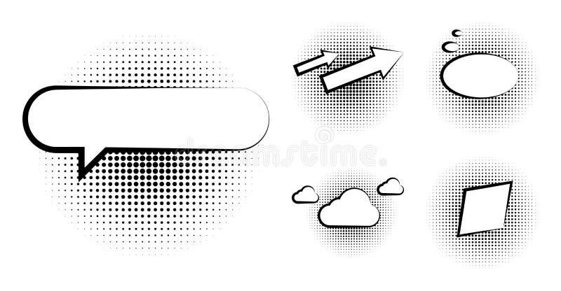 Satz der leeren Schablone in der Pop-Arten-Art Vektor-komisches Text-Sprache-Blasen-Halbton Dot Background Leere Wolke von Comics stock abbildung