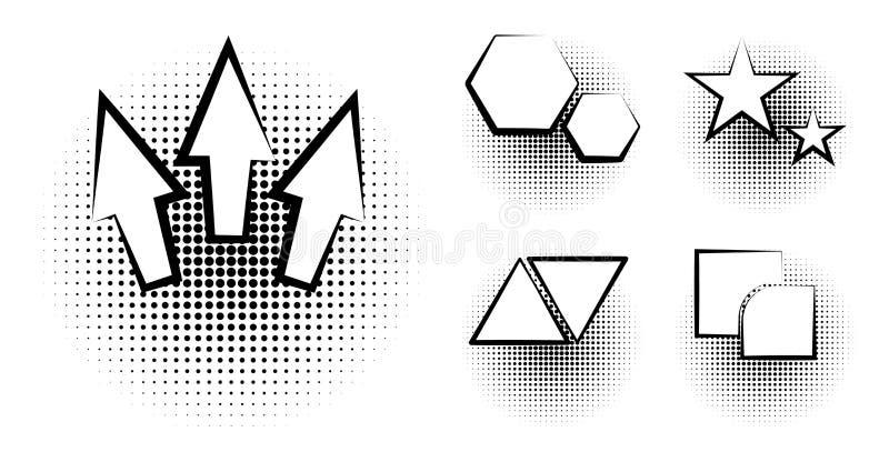 Satz der leeren Schablone in der Pop-Arten-Art Vektor-komisches Text-Sprache-Blasen-Halbton Dot Background Leere Wolke von Comics lizenzfreie abbildung