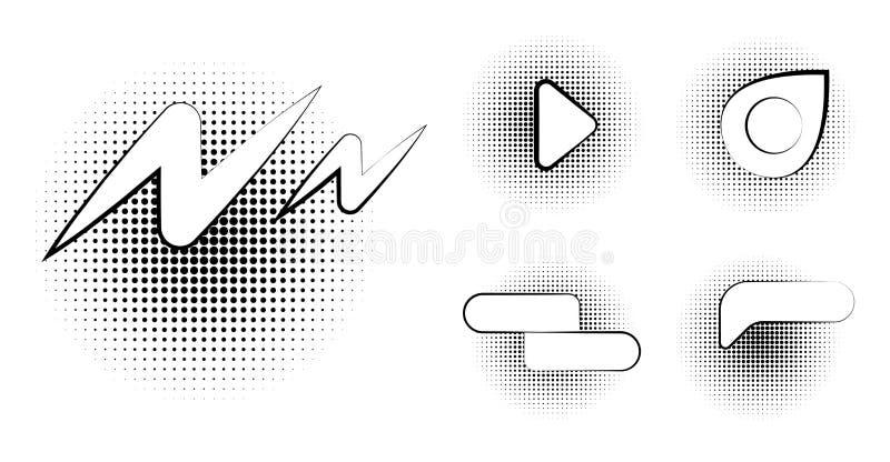 Satz der leeren Schablone in der Pop-Arten-Art Vektor-komisches Text-Sprache-Blasen-Halbton Dot Background Leere Wolke von Comics vektor abbildung