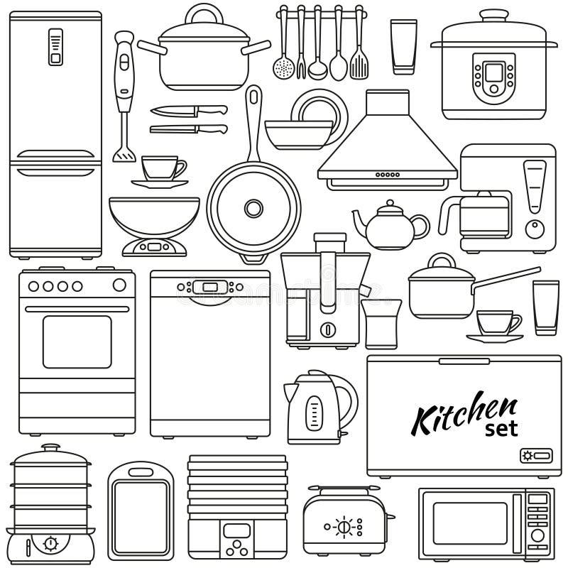 Satz Der Linie Ikonen Küchengeräte Und Zubehör Ofen Und Kasserolle ...