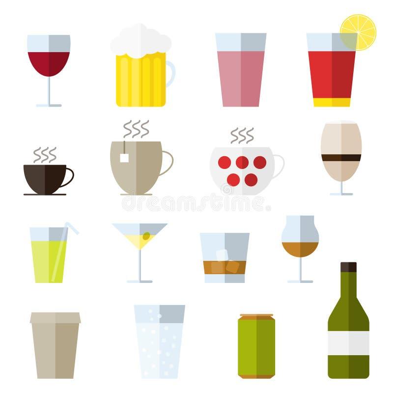 Satz der Linie Ikonen mit Getränken lizenzfreie abbildung