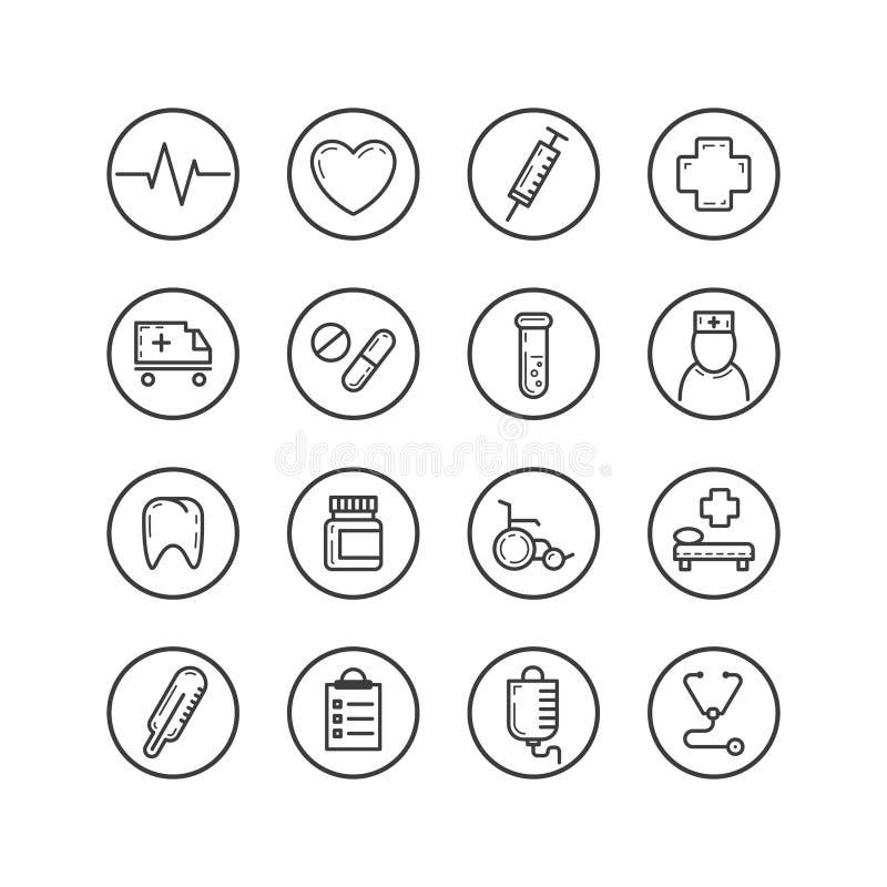 Satz der lokalisierten Linie Kunstikonen auf dem Thema von Medizin stock abbildung