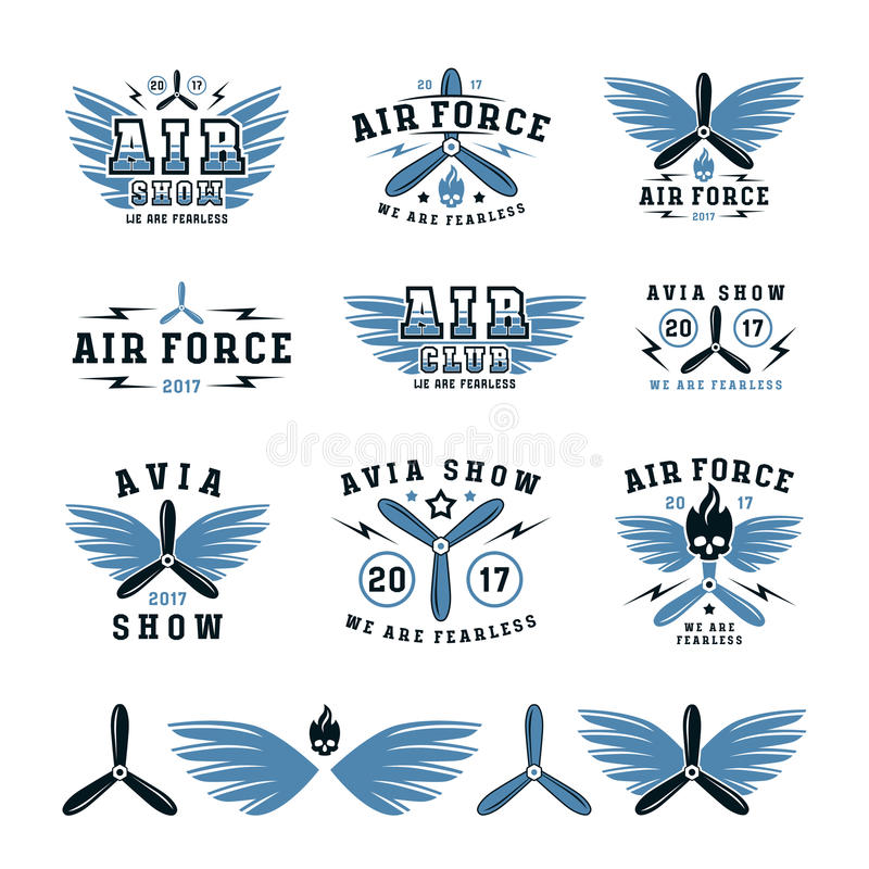Satz der Luftwaffe und des Flugschauemblems und der -ikonen lizenzfreie abbildung