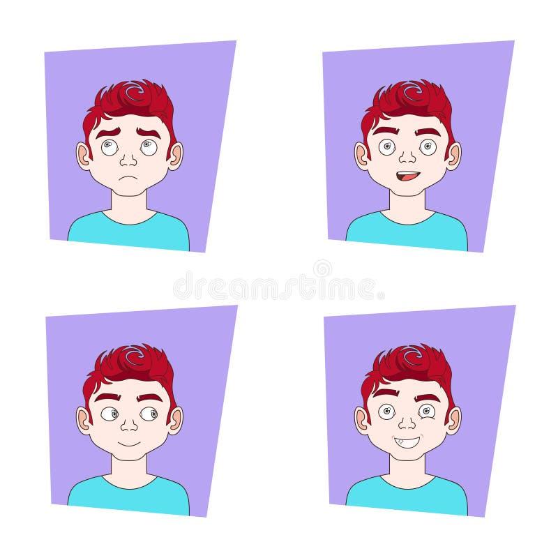 Satz der Mann-Gesichtsausdruck-Sammlung von Guy Different Emotions Icons stock abbildung