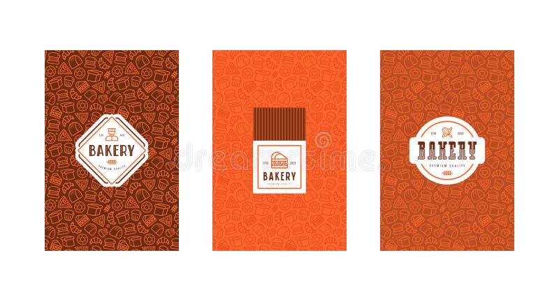 Satz der Menüabdeckung, des Aufklebers, des Logos und des nahtlosen Musters für Bäckerei vektor abbildung