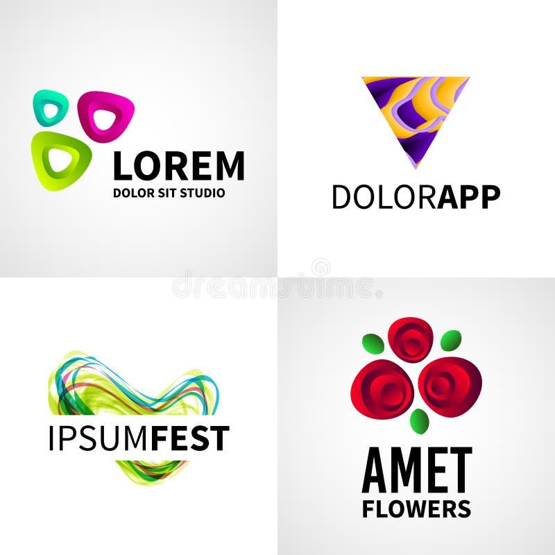 Satz der modernen kreativen bunten abstrakten Blume vektor abbildung