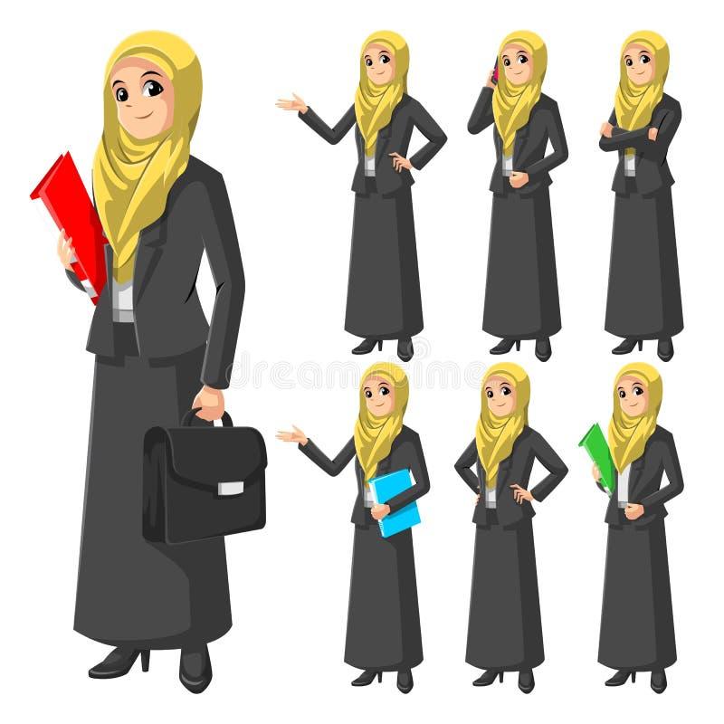 Satz der modernen moslemischen Geschäftsfrau Wearing Yellow Veil oder des Schals vektor abbildung