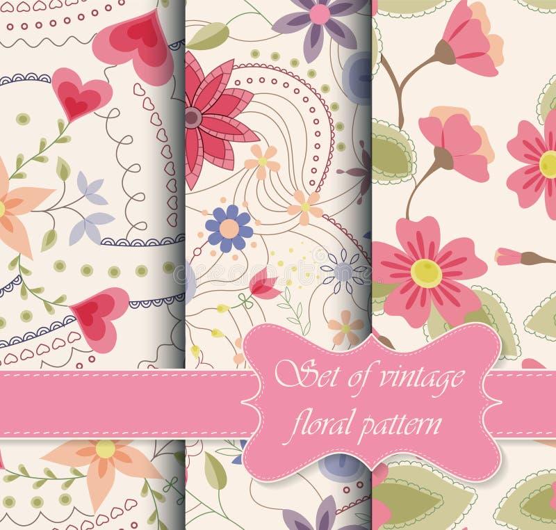 Satz der nahtlosen Musterweinlese mit Blumen stock abbildung