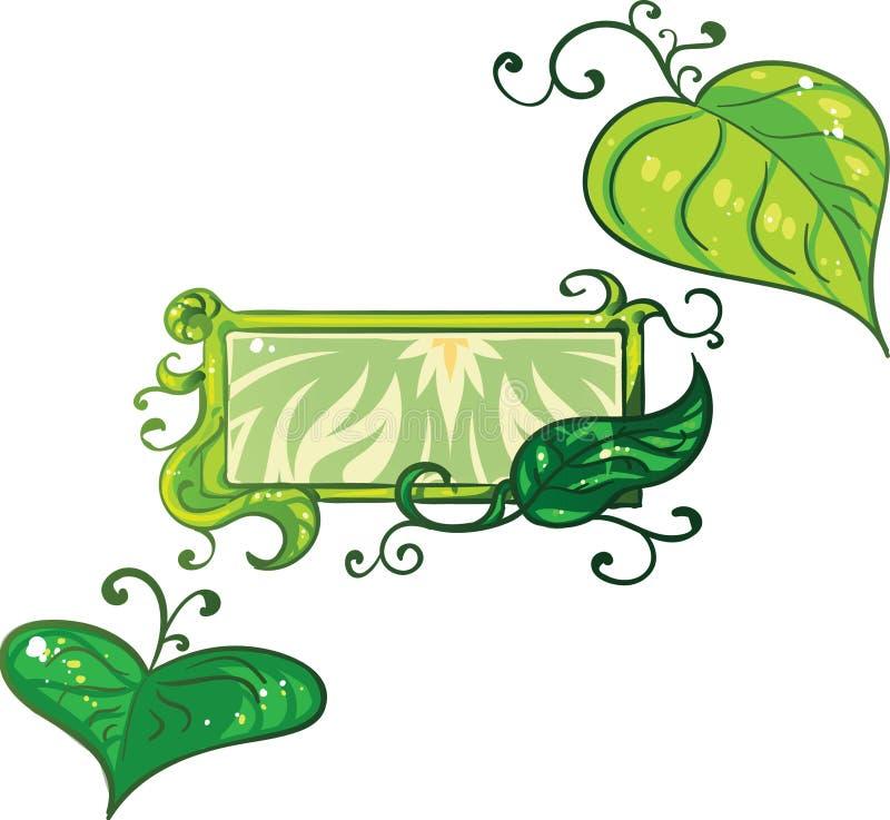 Satz der Natur bezog sich Elemente wie Blätter und Efeu mit einer zusätzlichen Fahnenschablone stockbilder