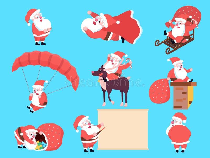 Satz der netten glücklichen Karikatur Santa Claus in den verschiedenen Positionen, acti lizenzfreie abbildung