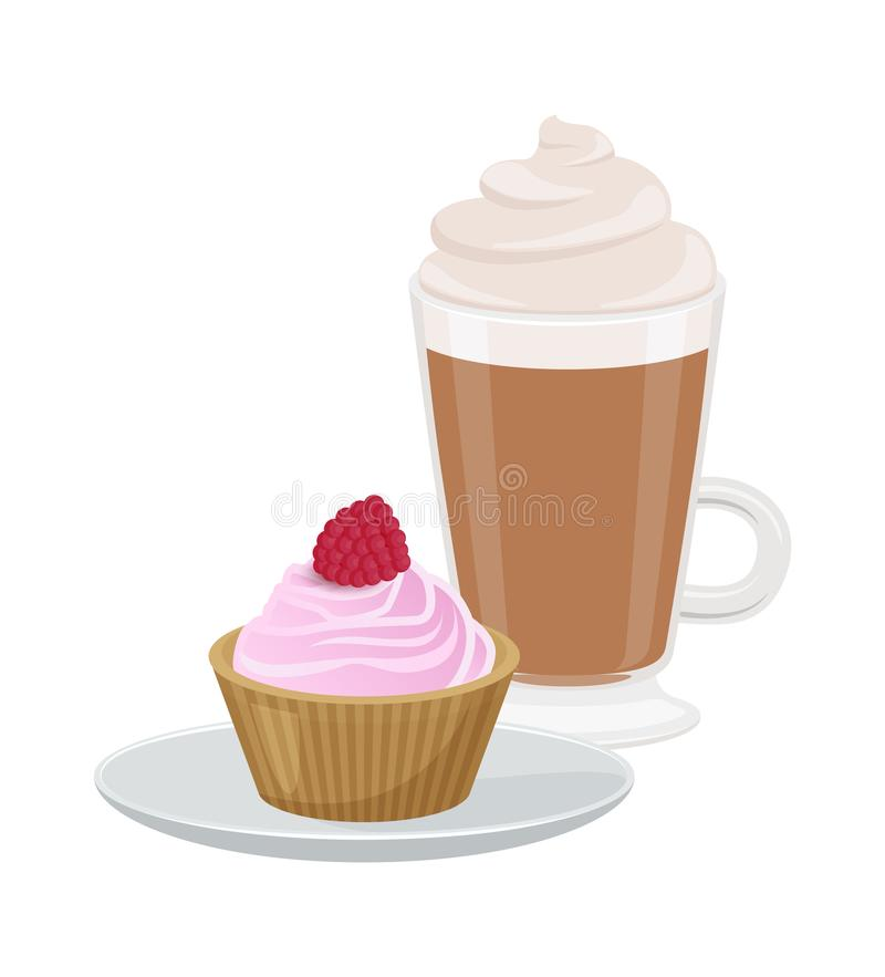 Satz der netten Vektor-Illustration des kleinen Kuchens und des Latte lizenzfreie abbildung