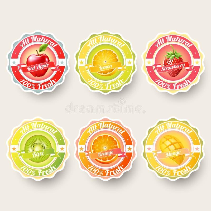Satz der Orange, Zitrone, Erdbeere, Kiwi, Apfel, Mangosaft, Smoothie, Milch, Cocktail und neue Aufkleber spritzen lizenzfreie abbildung